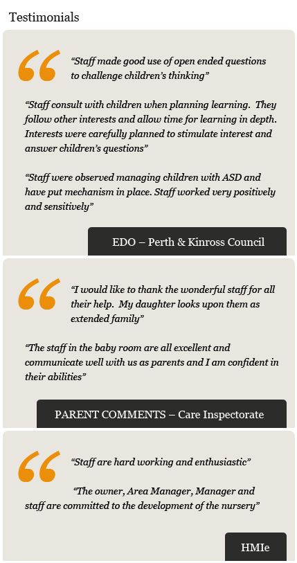 Parents, Local Authority, HMIe Kids Nursery Feedback